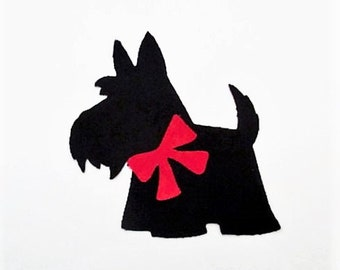 Scottie Dog Iron On Patch Applique 6""