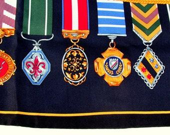 "SALE Vintage Designer Medals and Ribbons Silk Scarf  36"" x 36"""