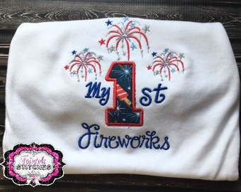 My First Fourth of July, My First Fireworks, First Fourth July, Baby Shower Gift, Fourth July Shirt, Boy Fourth July