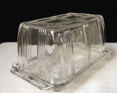Hazel Atlas - Criss Cross - Ine Pound Butter Dish - Clear Glass