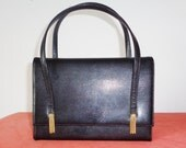 Vtg Petite Black Box Faux CROC Bag with TASSELS by Block!