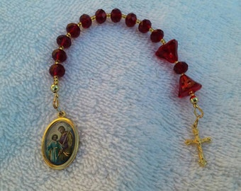 St. Joseph Dark Red Beaded Chaplet