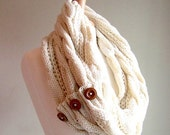 SALE Infinity Scarf Braided Cable Lightweight Knit Circle Loop Ivory Cream Neckwarmer Scarves with Buttons  Women Girls Accessories