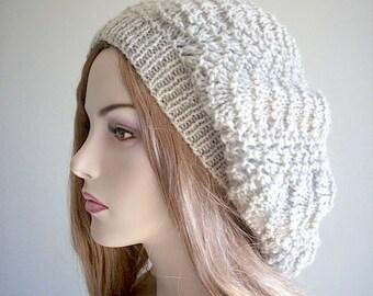 PDF Download Knitting Patterns Lace Oversized Berets Lacy Pattern Beanie Slouch Womens Girls