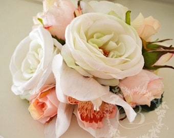 Cake topper, white rose blooms, light pink mini rose buds, cream mini rose buds, white pink cymbidium orchid blooms, handmade,