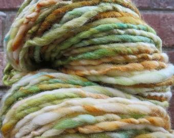 Handspun Yarn, Thick and Thin, Art Yarn, Wool, Bulky, Single Ply, Polwarth, Silk, Secret Garden