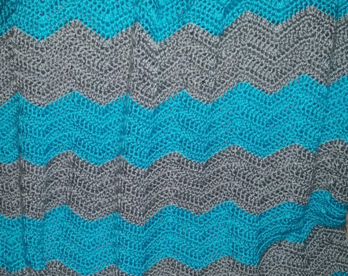 Gray and Teal Chevron Blanket