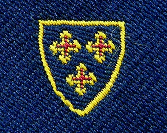 "Vintage SCHRETER ""Heraldic Triple Cross Crests"" on Navy Blue Trad / Ivy League Emblematic Embroidered Club Neck Tie."