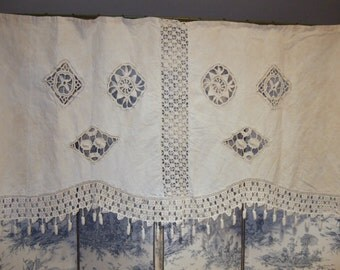 Antique French Hanging Hemp and Made. Crochet Work.  Decorative Panel