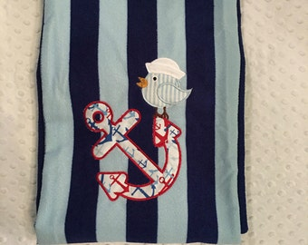 Navy Striped Anchor Beach Towel