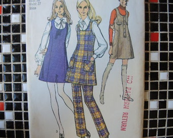 vintage 1970s Simplicity sewing pattern 8981 misses mini jumper and pants size 14