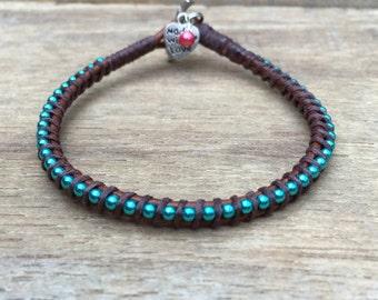Friendship Bracelet, Turquoise Bracelet, Leather Bracelet, Charm Bracelet, Minimal Bracelet, Stacking Bracelet, Turquoise Jewelry