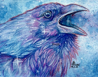 """1 x raven crow postcard """"Tähtien Äiti"""""""