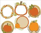 Pumpkin Clip Art Pumpkin Circle Frames-Personal and Limited Commercial Use- pumpkin wreath, harvest, Thanksgiving Clipart