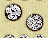 "Collage sheet 1 inch circle ""Black & White Floral Motifs"" (1BWNC01) - 48 images of flowers for resin or glass tiles, magnets, jewelry, etc."