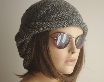 READY SHIP WINTER Chemo Cap - Gray - black mix Chemo Hat Womens Cancer Headwear and Slouch Beanie