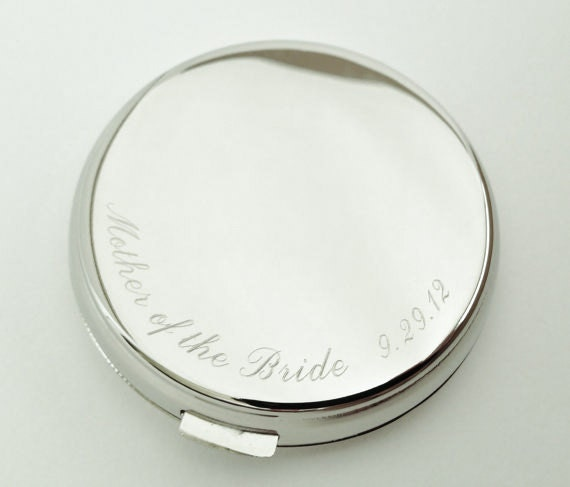 Engraved Compact Mirror - Personalized Bridesmaid, Mother of the Bride Gift
