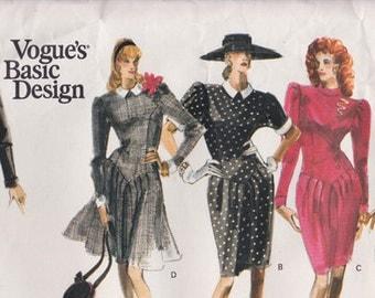 "FF 1980s Jazzy Women's Dresses Vintage Sewing Pattern [Vogue 2122] Size 6 8 10, Bust 30.5-32.5"", UNCUT"