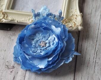Rhinestone Hair Flower, Blue Bridal Hair Accessory, Lace Hairpiece, Blue Headpiece, Something Blue Clip, Wedding Fabric Flower