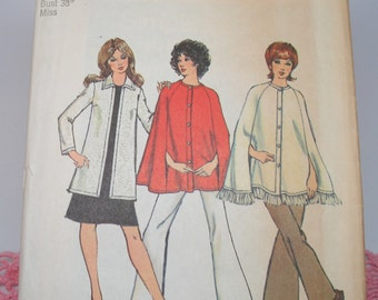 """Vintage Sewing Pattern Simplicity 9869 Size 16 Bust 38"""" Miss Uncut from 1972"""