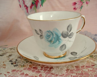 Vintage Teacup Crown Staffordshire England Blue Rose Tea Cup and Saucer Bone China Shabby Chic