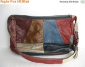 ON SALE vintage. HANDBAG. shoulder. Patchwork. boho. Leather. colorful. 1970s.