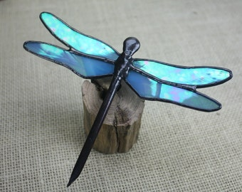 Sky Blue Iridescent Dragonfly Stained Glass Sculpture on Wood Base, Glass Art