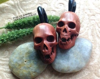 "Fake Gauge Earrings, ""Savage Skull""  Natural, Saba Wood/Horn, Hand Carved, Tribal"