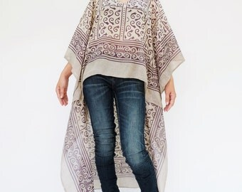 NO.134  Cream, Grey and Purple Cotton Hand Printed Scarf Kaftan Top