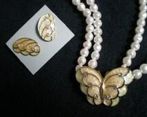 Vintage Avon Kenneth Jay Lane KJL Papillon earrings and necklace, peach pink, double pearl, avon jewelry, jewellry, pierced earrings, wings