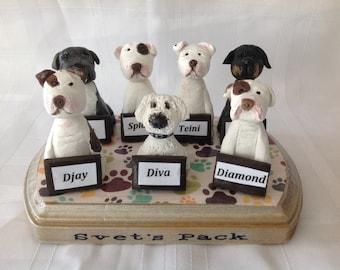 Polymer clay Pet sculpture,pet hospital, Veterinerian,dogs, Yorkie dog, Animal business card holder, desktop card holder.