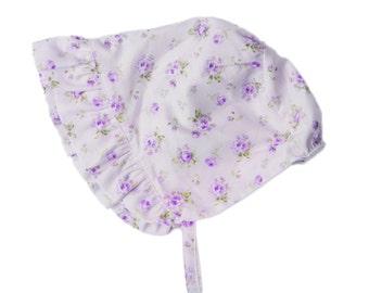 Vintage style heirloom bonnet with lavender purple floral fabric