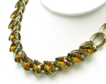 Vintage Necklace With Heavy Chain Links & Golden Topaz Stones