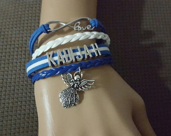 Personalize name infinity leather Braided Cord Angel Charm Bracelet