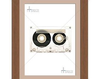 Simple Music Audio Cassette Retro Photographic Print - Various Sizes - Gift Idea