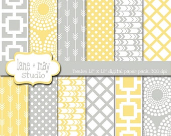 digital scrapbook papers - yellow and gray geometric tribal arrow, starburst and polka dot patterns - INSTANT DOWNLOAD