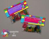 INSTANT DOWNLOAD - Digital File - Building Block PINK Valentine Treat Bag Topper- Printable