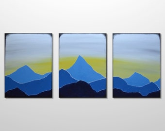 Original Large Triptych Mountain Range Silhouette Landscape Painting - Blue Acrylic Canvas Texture Abstract Modern Wall Art Home Decor