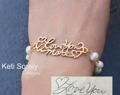 Your Handwriting Bracelet With White Pearls - Signature Charm Bracelet - Signature Bracelet in Sterling Silver, Yellow, Rose or White Gold
