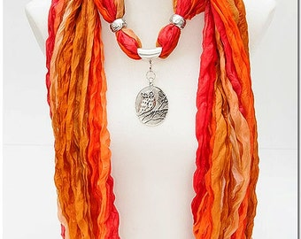 Orange brown silk scarf jewel