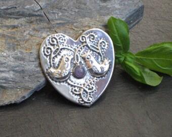Pewter Heart Lovebirds Brooch with Amethyst