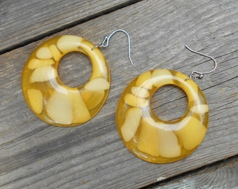 MOD Pierced earrings vintage yellow and white lucite chunks 1960s hippie earrings Free USA Shipping