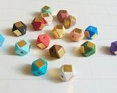 Geometric Wood Beads,  Hand Painted wood Beads 12mm, Hexagon wood beads