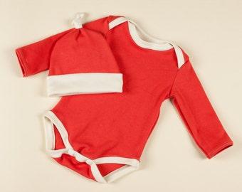 Ready to Ship 3 Month Santa Organic Bodysuit Set