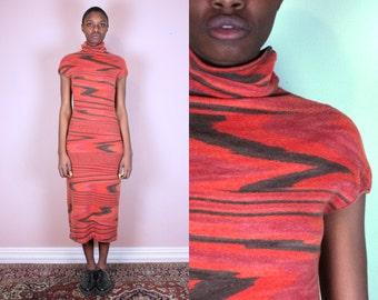 Missoni Red Dress Long Dress Maxi Dress Pattern Dress Modern Dress Red Long Dress Red Maxi Dress Turtleneck Dress Knit Dress Column Dress