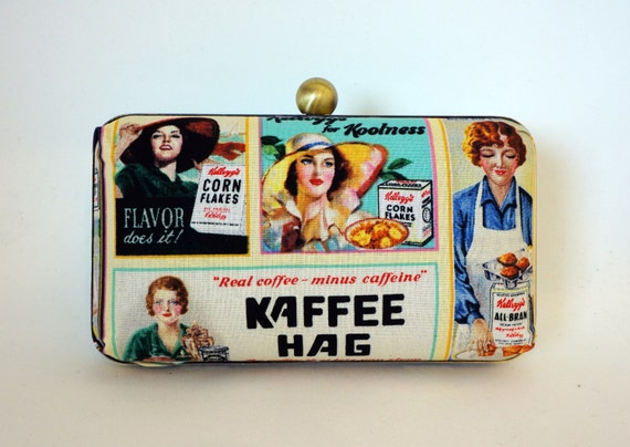 Vintage Print Minaudière Box Clutch - Kellogg/Coffee Purse - Handbag Includes Chain - Ready to Ship