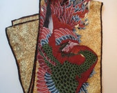 Long Silk Scarf with a Fierce Peacock Design, Vibrant Colors, Museum Purchase