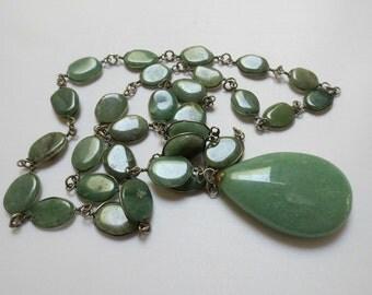 Big, Green Aventurine Stone Statement Necklace/Pendant
