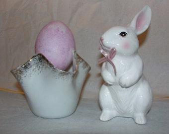 Porcelain Bunny and Porcelain Egg Holder