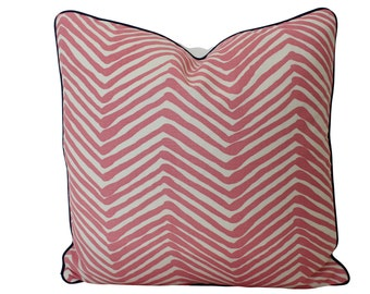 Alan Campbell Pink Zig Zag Pillow Cover with Navy Piping